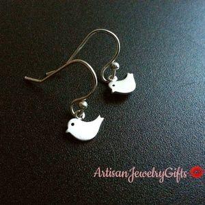 Hypo-Allergenic Tiny Silver Bird Earrings
